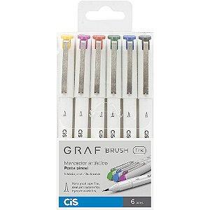 Estojo C/6 Cores Marcador Artístico CIS Graf Brush Fine