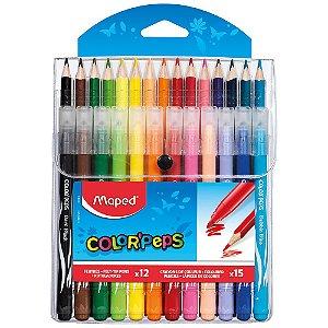 Lapis De Cor Maped 15 Cores + 12 Canetas Hidro Color Peps