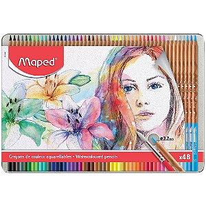 Lápis De Cor Maped Aquarelável C/48 Cores + Pincel
