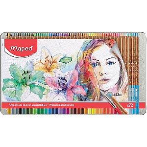 Lápis De Cor Maped Aquarelável C/72 Cores + Pincel