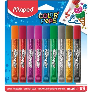 x9 Cola Maped Glitter Color Peps Cores Purpurina 10,5ml