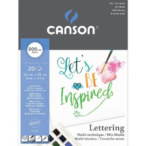 Bloco Mix Media Lettering Canson 24x32 20fls 200g