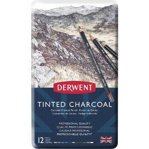 Lápis De Cor Em Carvão Tingido 12 Cores Estojo Lata 2301690