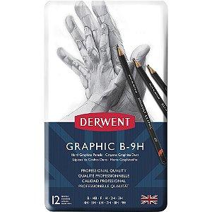 Lápis Grafite Graduado Graphic (B-9H) 12 Un Alta Dureza Est Lata Derwent 34213