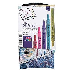 Kit Estojo Com 5 Canetas Graphik Line Painter 0,5mm - Paleta #03 2302232