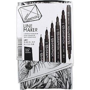 Kit Estojo Com 6 Canetas Graphik Line Maker Preta Derwent 2302206