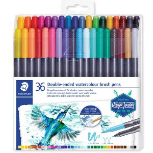 Kit Caneta Brush Aquarela Marsgraphic Duo Staedtler C/36 Cores