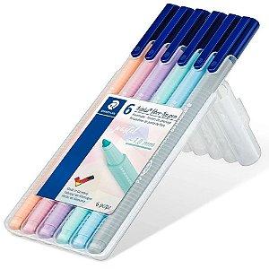 Estojo 6 Canetas Staedtler Triplus Fibre-Tip Pen Pastel 1.0mm