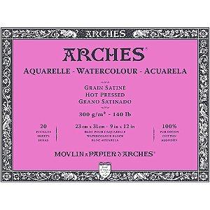 Bloco Papel Arches Satine Aquarela Hot Pressed 23X31Cm 20Fls