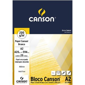 Bloco A2 Papel Canson Branco 200g 20 Folhas 66667043
