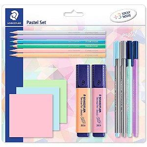 Kit Staedtler 4 Canetas + 6 Lápis Cor Pastel + 2 Marca-Texto + Notas Adesivas