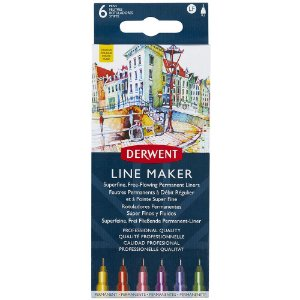 Kit Estojo 6 Canetas Derwent Graphik Line Maker Colour 0.5mm