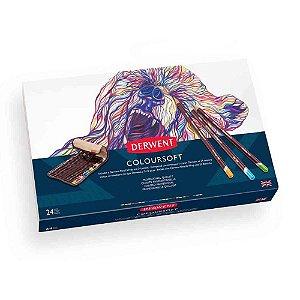 Kit Lápis Cor Derwent Permanente Coloursoft 24 Cores + Estojo