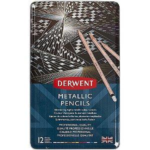 Lápis Cor Derwent Permanente Metallic 12 Cores Estojo Lata