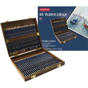 Estojo Madeira Lápis Cor Derwent Watercolour 48 Cores