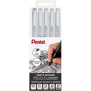 Estojo 6 Canetas Pentel Nanquim Pointliner Escrever Desenhar
