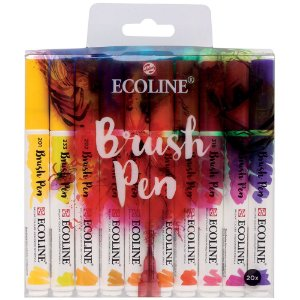 Estojo Caneta Pincel Brush Talens Pen Ecoline 20 Cores 11509004