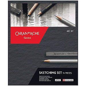 Estojo Desenho Caran d'Ache Sketching 14 Peças Completo