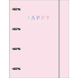 Caderno Fichário Tilibra Happy Rosa Universitário 80Fls