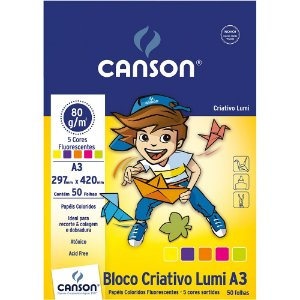 Pacote Papel Criativo Lumi Canson A3 80g 5 Cores 50Fls Escolar