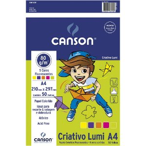 Pacote Papel Criativo Lumi Canson A4 80g 5 Cores 50Fls Escolar