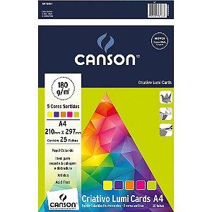 Pacote Papel Criativo Lumi Cards A4 5 Cores 180G 25Fls Canson