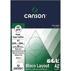 Bloco Layout Canson Papel Super Sulfite A2 180 g/m² 20Fls