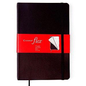 Caderneta Clássica Flex Cicero Pautado Preto 14x21 160 Fls
