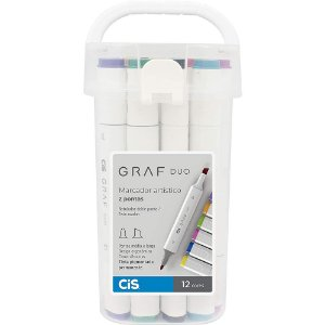 Estojo Marcador Artístico CIS Graf Duo C/ 12 Cores Vibrantes