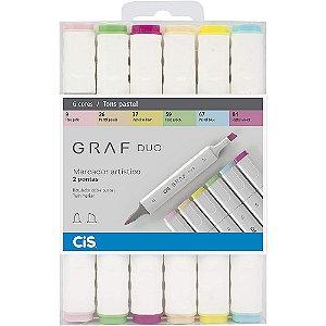 Estojo Marcador Artístico CIS Graf Duo C/6 Tons Pastel