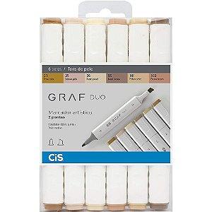 Estojo Marcador Artístico CIS Graf Duo C/6 Tons De Pele