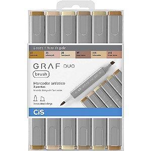 Estojo Marcador CIS Graf Duo Brush C/6 Cores Tons de Pele