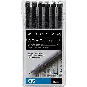 Caneta Técnica Cis Graf Tech Preta com 6 Unidades