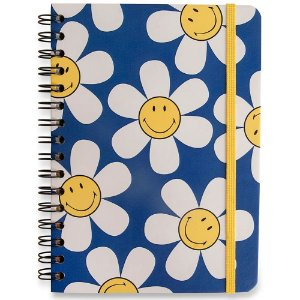 Caderno A5 Smiley Cicero Pautado Margarida Azul Wire-O