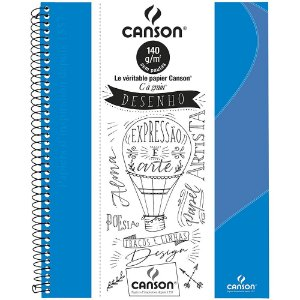 Caderno Desenho Canson C A Grain A4+ Azul Turquesa 140g 40Fls