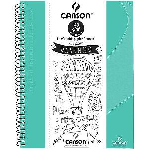 Caderno Desenho Canson  C A Grain A4+ Verde Tifany 140g 40Fls