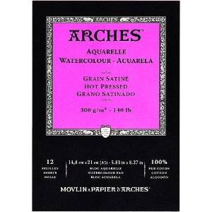 Bloco Papel Arches Aquarela Hot Pressed 14,8X21Cm 12 Folhas 300g/m²