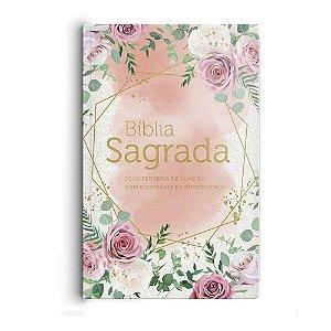 Bíblia Sagrada Arc Com Dicionário E Concordância - Rosas Blush