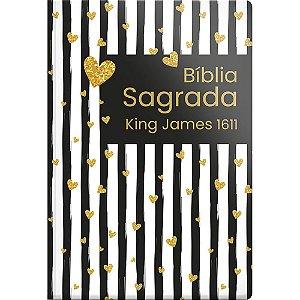 Bíblia Sagrada King James 1611 - Capa Semi Luxo Coração Listrado