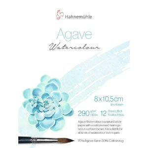 Bloco Agave Watercolour Hahnemuhle 8x10,5cm Textura Fina 290g/m² 12 Folhas