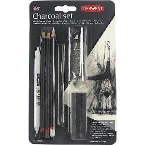 Kit Carvão Derwent Com 10 Peças Charcoal Set Profissional