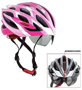 Capacete Bike Apollo Tam: L C/ Óculos Embutido Viseira Diurna E Noturna Cor Rosa