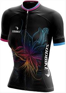 camisa ciclismo flower baby look fem tam gg curta ziper full