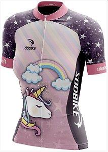 camisa ciclismo unicornio baby look fem tam p curta ziper full