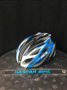 Capacete Ciclismo Argon Ta018 Preto/azul G regulagem com LED sem viseira