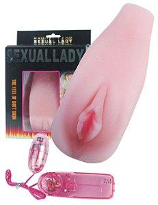 SEXUAL LADY 2 - MASTURBADOR MASCULINO EM FORMA DE VAGINA COM BULLET INTRODUTÓRIO DE MULTIVELOCIDADE - 17 X 7 CM