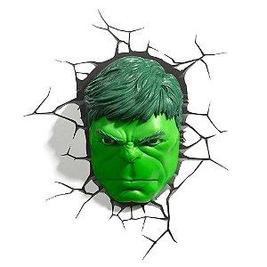Luminária Rosto Hulk - Marvel - 3D Light FX