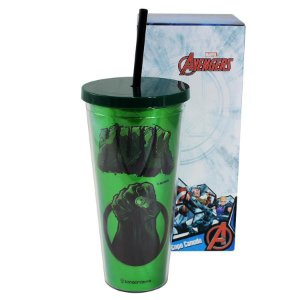 Copo Canudo - Hulk - Efeito Metálico