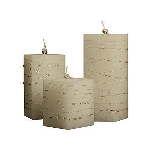 Trio de Velas Quadradas 8cm de Lado com Miçangas