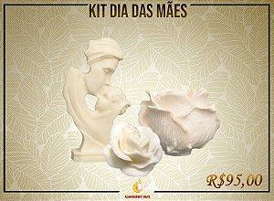 Kit de Dia das Mães: Mãe e Filho + Rosa Aberta + Luminária Cachepô